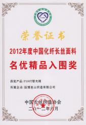 2012年度中国化纤长丝面条名优精品入围奖