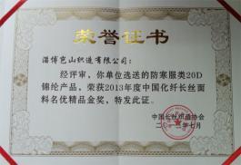 2013年度中国化纤长丝面料名优精品金奖
