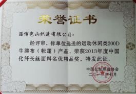2013年度中国长丝面料名优精品奖